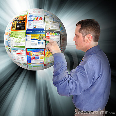 Internet Business Man Pointing to the Web