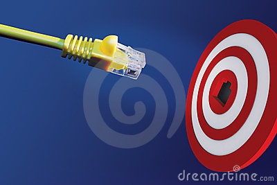 Internet cable in front of centre of target