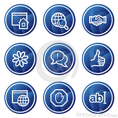 Internet communication web icons, blue buttons
