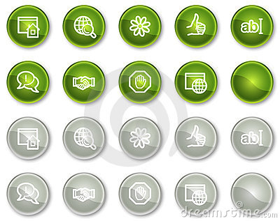 Internet communication web icons, circle buttons