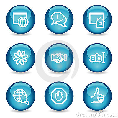 Internet communication web icons, glossy sphere