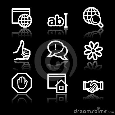 Internet communication white contour web icons