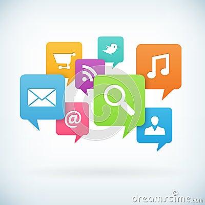 Internet concept icons on speech bubbles