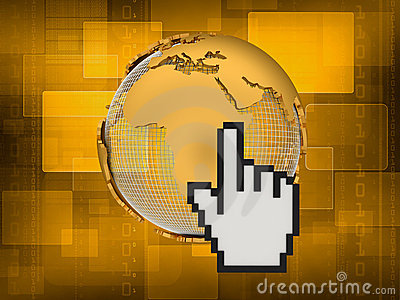 Internet - cursor and globe - concept illustration
