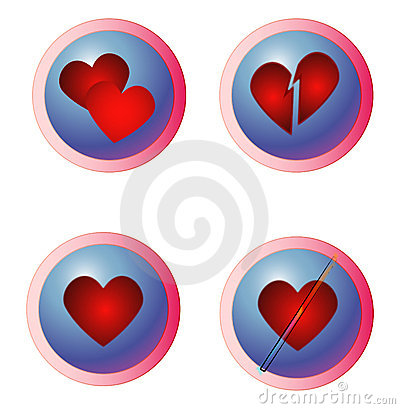 Internet Dating - Hearts Buttons