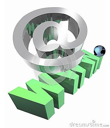 Internet em e sinal de WWW