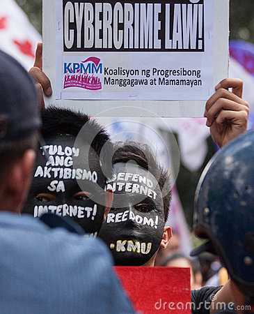 Internet freedom law protest in Manila, Philippines Editorial Photography