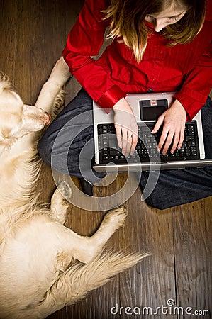 Internet girl and dog