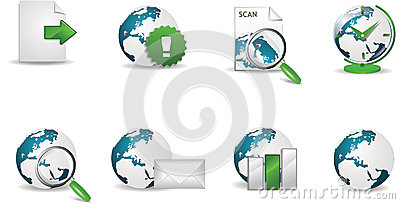 Internet icon set with globe