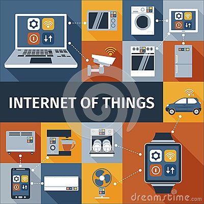 Free Internet Of Things Flat Icons Composition Stock Image - 50165871