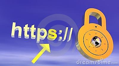 Internet secure address with padlock