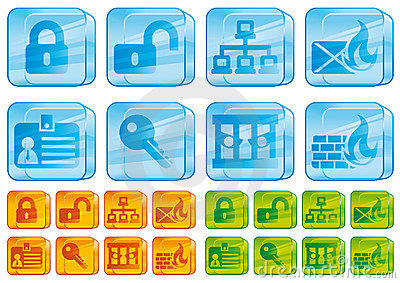 Internet security glass icons