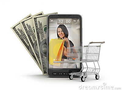 Internet shopping by cell phone