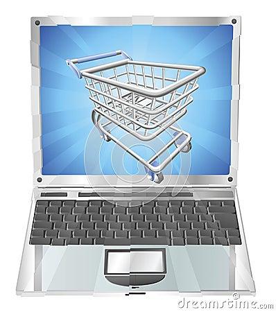 Internet shopping laptop concept