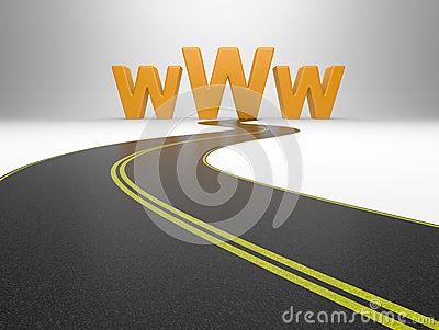 Internet symbol www and a long road