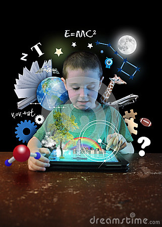 Free Internet Tablet Boy With Learning Tools Stock Images - 40837594