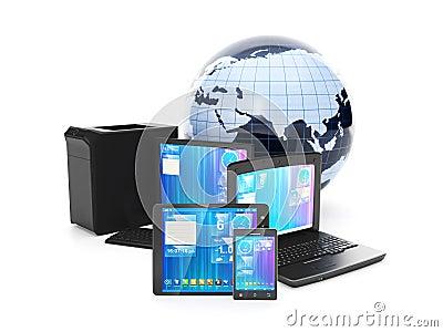 Internet. Telefono cellulare del collegamento, PC della compressa o computer portatile