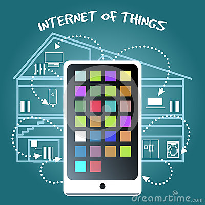 internet of things concept with smart phone stock vector image 47230816. Black Bedroom Furniture Sets. Home Design Ideas
