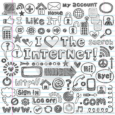 Free Internet Web Icon Computer Sketchy Doodles Set Royalty Free Stock Images - 24061469