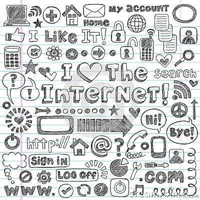 Internet Web Icon Computer Sketchy Doodles Set
