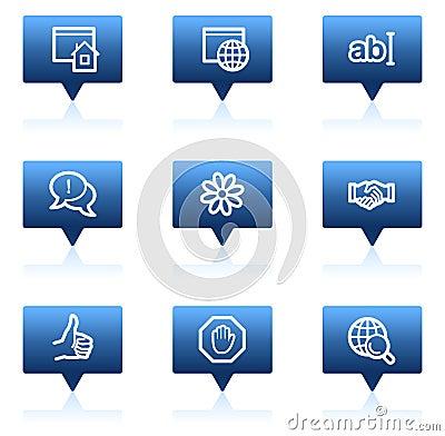 Internet web icons, blue speech bubbles series