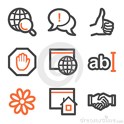 Internet web icons, orange and gray contour