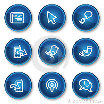 Internet web icons set 2, blue circle buttons