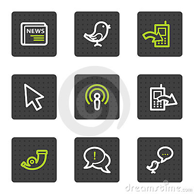 Internet web icons set 2, grey square buttons