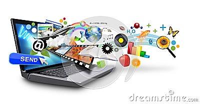 Internetów laptopu medialni wielo- przedmioty