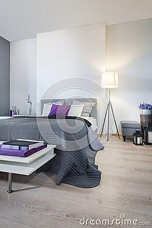 Interno della camera da letto con il letto grigio foto stock – 153 ...