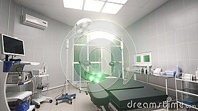 Interno di rassegna del fondo della sala operatoria moderna all'ospedale stock footage