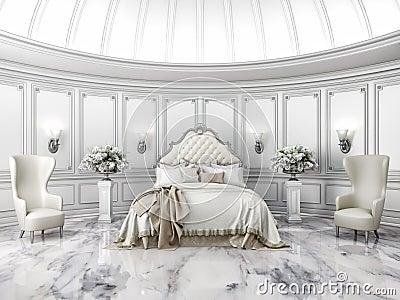 Interno di una camera da letto rotonda di stile classico - Camera da letto stile classico ...