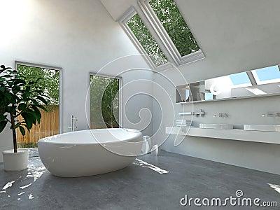 Interno Moderno Del Bagno Con La Vasca Ovale Illustrazione ...