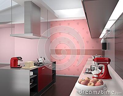 interno moderno della cucina con gli apparecchi astuti nella, Disegni interni