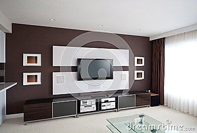 Interno moderno della stanza del teatro domestico con lo schermo piano TV