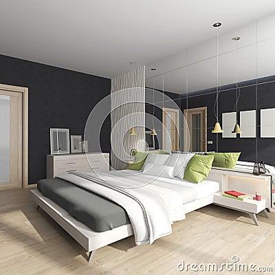 Interno della camera da letto con lo specchio illustrazione di ...