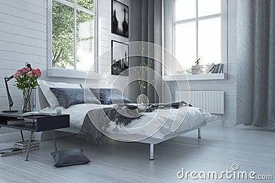 Interno moderno grigio e bianco di lusso della camera da for Design della camera di lusso