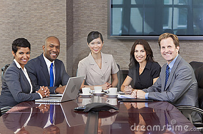 Interracial Business Team Meeting Boardroom