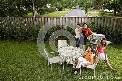 Interracial family in backyard
