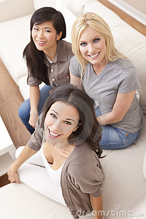 Interracial Group of Beautiful Women Friends
