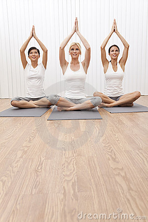 Interracial Group Beautiful Women In Yoga Position