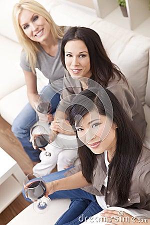Interracial Group Three Women Drinking Wine