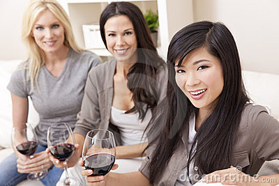 Interracial of Group Women Friends Drinking Wine
