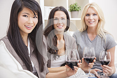 Interracial Group Women Friends Drinking Wine