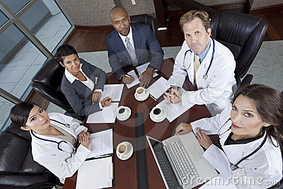 Interracial Medical Business Team Meeting