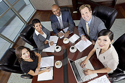 Interracial Men & Women Business Team Meeting