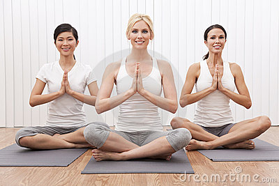 Interracial Yoga Group of Beautiful Women