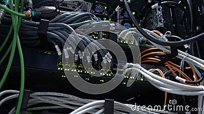 Interruptor de trabajo de Ethernet en sitio del centro de datos Lámparas verdes del centelleo 4K almacen de video