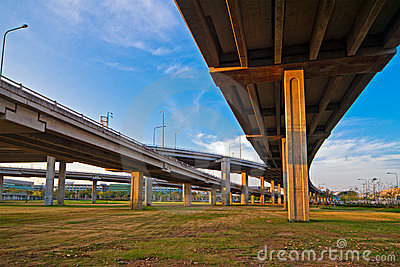 Intersecting lines of Bangkok freeway.
