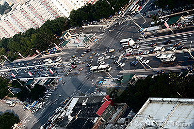 Intersection in downtown Beijing